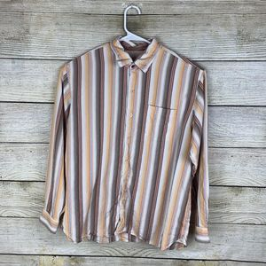 Tommy Bahama Long Sleeve Shirt Striped 100% Silk